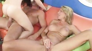 Crazy mom and her light-minded daughter enjoy a huge cock in their twats