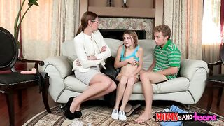 Milf in glasses gives a blowjob lesson to her daughter and watches her fucking