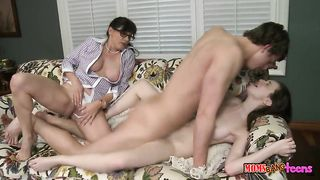 Busty mature slut in glasses joins the young couple for hardcore sex and gets banged