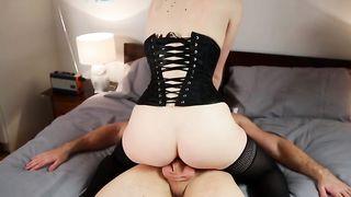 Peeking on my wife's hot brunette aunt masturbating in bed