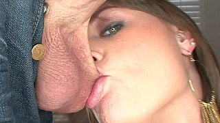 Svelte hot and charming brunette licks and sucks balls of my friend