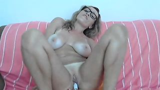 Nerdy blond haired MILF with sexy big tits wanted to masturbate just a bit