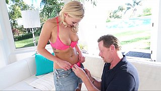 Hot blonde chick fucks with her horny stepdad and blows his big schlong