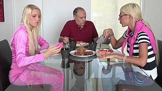 Lovely blonde daughter fucks with her boyfriend while her crazy mom is watching