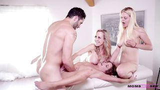 Two sweet girls and their gorgeous mom fuck with a lucky dude in a happy foursome