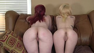 Two beautiful short-haired twins have hot oral sex with principal