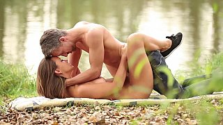 Terrific outdoor sex scene with a well-endowed amateur blonde