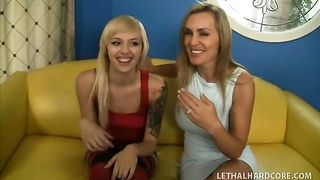 Topnotch mom and her mouth watering daughter striptease and deepthroat a thick wang