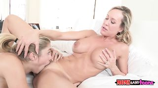 Rough sex of busty mom and her cock addcted daughter with a hot boyfriend till orgasm