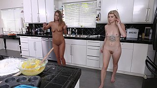 Marvelous teen lesbian college sisters in softcore action