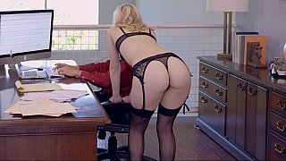 Young sexy blonde secretary getting wild in her office with me