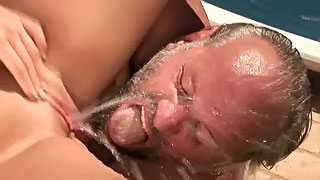 Gorgeous blondie daughter squirts on old father's face and swallows his cum
