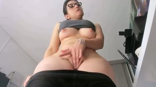 Busty brunette camgirl pawing her pussy on webcam
