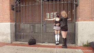 Slave walking around topless