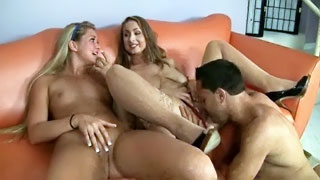 Cute sisters flirt with their brother and spread legs wide to get pussies eaten hotly