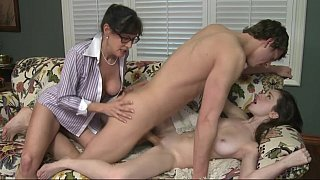 Lewd guy bangs pussies and mouths of mom and her filthy daughter in the incest scene