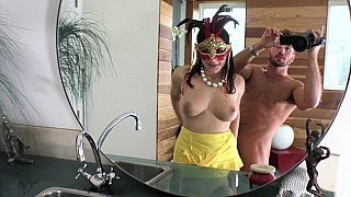 [  Masked And Moist Porn XXX ] Dude with a cock ring buries his meat deep inside this masked gal's throat