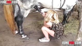Horny college girl gets drunk and fucked with horse her father