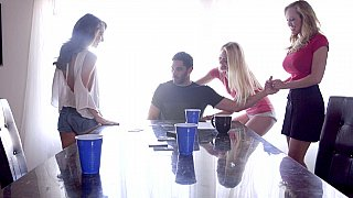 Sisters and their crazy mom fuck with a lucky guy in fffm foursome and suck his prick