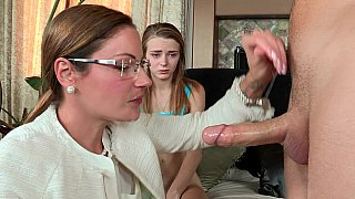 [ Mom rapes daughter porn ] Milf in glasses teaches her crazy daughter how to give a proper blowjob and a ride