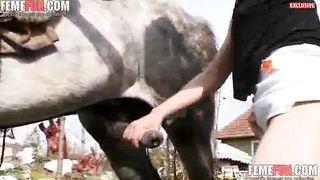 Sperm thirsty curious old sluts sisters sharing cock sucking duties on a horse