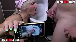 Pee in my mother's mouth in a public toilet