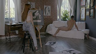 Artist and her muse - Daughter Naked On Сam