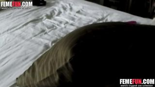 Hidden camera masturbation from behind! She selfshot of her pussy for lover