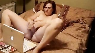 My BBW wife caught watch porn and masturbating toying front of Laptop