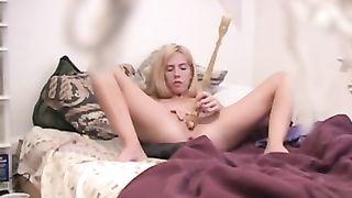 Hacked laptop voyeur video of blonde wife masturbating orgasm