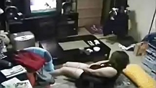 Hidden cam caught my wife masturbating! This slut watching incest porn on TV