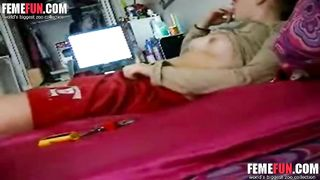 Hidden cam caught in my sister bed room caught her fingering