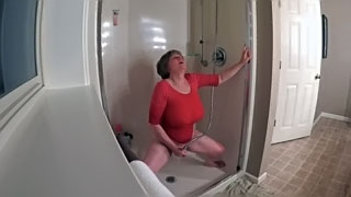 Hidden cam caught - 49 yo wife masturbating in the shower in wet red t-shirt