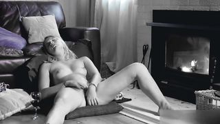 Hidden cam caught - Sexy wife masturbation in the living room in front of the fireplace