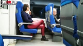 A blowjob from a stranger on the train! Cum eater wife PUBLIC Blowjobs