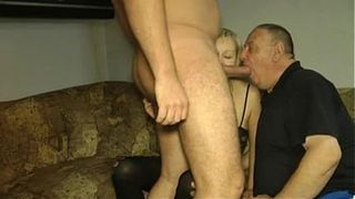Cuckold husband eating the cum of another guy from his wife's pussy! Cuckold creampie