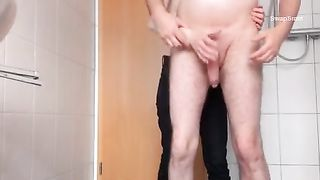 Jerking off my guy making him ball cream all over the washroom using hand