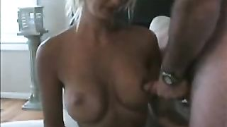 Blonde black cock sluts ejaculation tugjob outdoors in her mouth and on titties