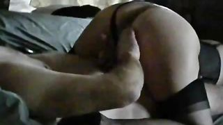 Lubing up the horny white wife a-hole and sliding entire hand inside fisting her