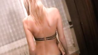 Fit juvenile luscious blond girlfriend dilettante sex recorded at her place