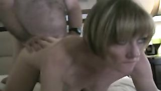 Hard Fucking a blond aged cheating wife doggy style on the sofa