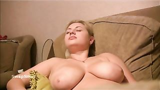 Blonde dilettante with large tits jerked over and spunked on by hubby