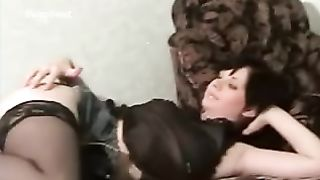 Brunette sucking husband's shlong whilst getting herself off, then taking spunk flow on her mounds