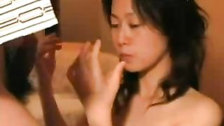 Asian wife loving oral job with surprise facial ball cream discharged