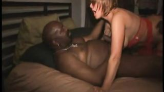 Cuckold milf in red underware banging 2 blacks interracial dilettante