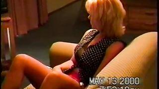 Blonde milf wanting dark ramrod during the time that watching porn