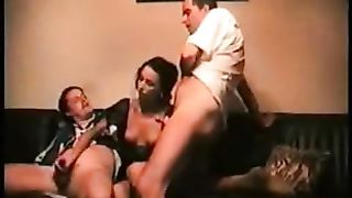 Husband sharing dirty slut wife with local friend loves being satisfied by 2