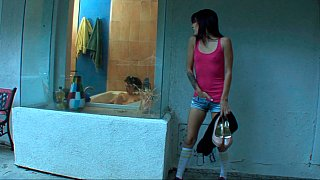 Step-sisters in bathroom fuck brother