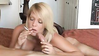 Smoking and sucking cock turns on this Mature MILF