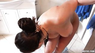 Natural busty beauty wife shows us masturbation she spends her shower time
